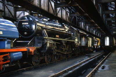 'Black 5' no. 44806 inside the former steam shed at Steamport Museaum, Southport (27/07/1983)
