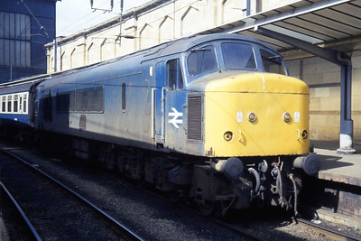 45056 waits to depart from Carlisle with an afternoon service to Edinburgh via Newcastle (16/04/1984)