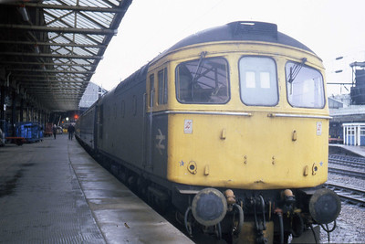33030 waits to depart from Crewe with a service for South Wales (05/01/1984)