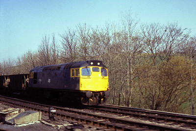 27030 is pictured in the yard at Appleby with a short rake of ballast wagons. This was the only occasion I can recall seeing one of these machines south of Carlisle, and although the quality's not great, it's the best I could do from a moving train with very little notice (26/04/1984)