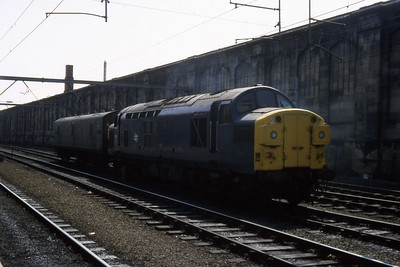 37013 in No.1 siding at Carlisle station with a single van (26/04/1984)
