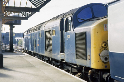 40015 is pictured again prior to departure from Skipton with 1M26. The hand-painted name 'AQUITANIA' is just visible between the bolts that held the original plate (25/04/1984)