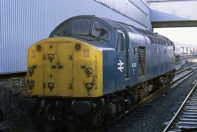 The sole surviving member of the class without air brakes, 40009 is seen stabled in the PCD at Leeds (20/10/1984)