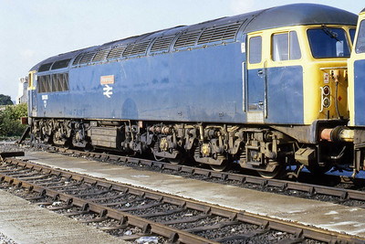 A close-up of 56031 'Merehead' stabled at Westbury (22/09/1984)