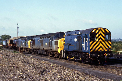 08584, 37256, 37121, 37229 and an unidentified '08' on shed at Westbury (22/09/1984)
