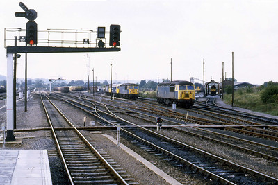 Class 56s were still the mainstay of the Mendip stone traffic at the time and five examples cam ne seen in this view of the stabling point from the station platforms (22/09/1984)