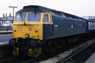 47469 'Glasgow Chamber of Commerce' is pictured at Blackpool North with 2J32 1355 to Manchester Victoria (30/10/1984)