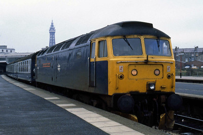 Another view of 47469 at Blackpool North prior to working 2J32. In the background is the town's most famous landmark (30/10/1984)