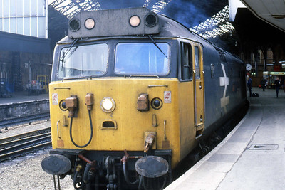 50040 'Leviathan' awaits departure from Bristol Temple Meads with 1M76 0855 Newquay - Manchester Piccadilly (22/09/1984)