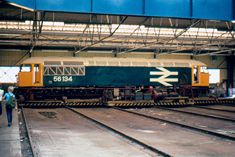 From a loco at the end of it's life to one at the beginning brand new 56134 inside the main shop at Crewe Works 19/08/84. This loco met the same fate in 2010.
