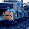 The one that got away. 40035 waits at Preston to work forward on the incoming 18:05 London Euston - Blackpool North. Much to our annoyance we had to watch this depart without us as we could not get back for the sleeper train to Fort William we were catching 01/08/84