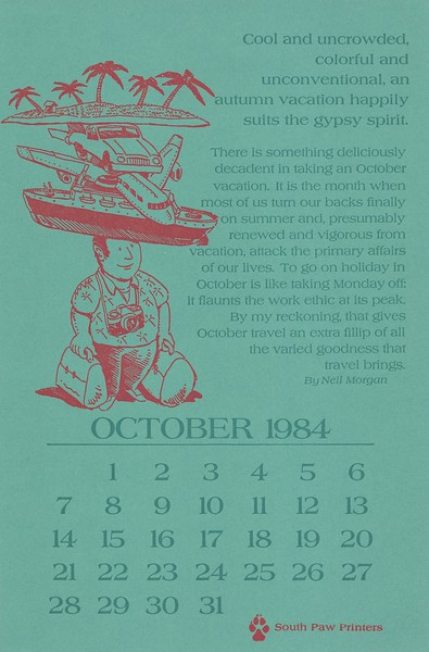 October, 1984, Southpaw Printers