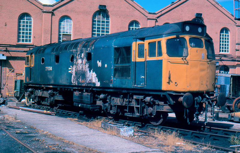 A very sorry looking 27034 in St Rollox Works, Glasgow 05/08/84