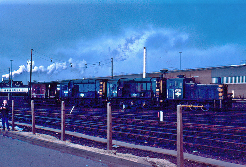 08693 + 08712 + 03069 at York en route to Swindon Works for overhaul 03/01/84