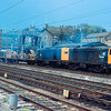 20121 + 20157 at Lancaster with the Wigan Spring Branch base electrification train 12/05/85