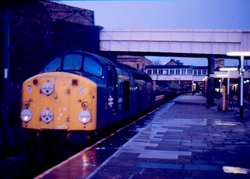 With only two weeks of service left 40044 stands on a ballast train at Lancaster 06/01/85. Two weeks later this loco work one of the final class 40 hauled passenger trains (except for 40122) on it's last day in service reaching York before being switched off for the last time.