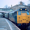 31460 arrives at Lancaster with the 13:48 Leeds - Morecambe 20/01/85