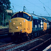 37401 + 37403 recently released from Crewe Works make their way to Scotland via one of the heaviest trains on the upper section of the West Coast Mainline the Clitheroe - Gunnie cement train 25/07/85