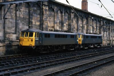 86318 + 86327 await their next duty at Carlisle (09/02/1985)