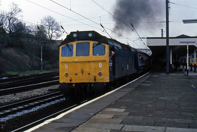 21 miles later, 25257 is pictured again departing Lancaster with 2P91 (04/05/1985)