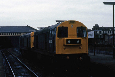 One of my most outrageous ever 'fall-ons' was the day I arrived at York on the late-running 1M73 1125 Newcastle - Liverpool (which had been diverted via Stockton because of a blockage on the ECML) to find 20111 + 20130 at the head of 2P10 1325 to Scarborough. The pair are seen running round at their destination before returning with 2P17 1446 to York (10/04/1985)