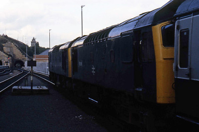 A last look at the pair of Type 2s as they depart Edinburgh Waverley with the ECS for Craigentinny (19/08/1985)