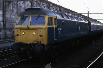47540 is seen in the sidings at Carlisle before shunting across to the platform with the stock for 1E33 1635 to Hull (02/11/1985)