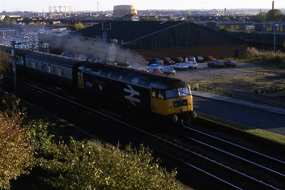 47595 'Confederation of British Industry' departs from Carlisle with 1S74 1020 Euston - Stranraer (02/11/1985)