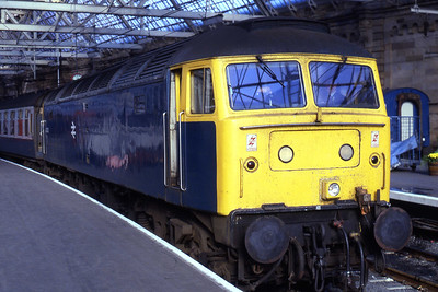 47433 waits to depart from Glasgow Central with 1M03 1345 to Carlisle via Kilmarnock and Dumfries (31/10/1985)