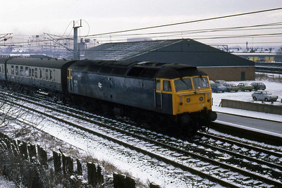 47533 departs Carlisle with the 1240 to Glasgow Central via Dumfries (22/02/1986)