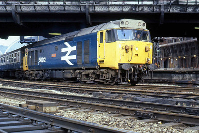 50012 'Benbow' is seen departing from London Paddington with the 1902 to Worcester Shrub Hill (30/05/1986)