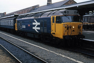 50013 'Agincourt' is pictured at Worcester Shrub Hill with the 0700 to Bristol Temple Meads (30/05/1986)