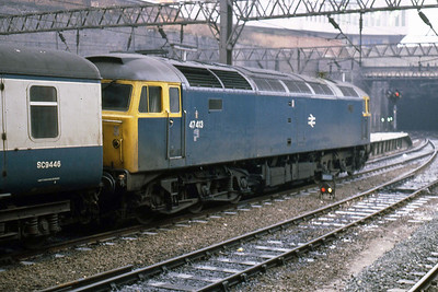 47413 at Birmingham New Street after working the 0747 Cardiff-Glasgow (17/02/1986)