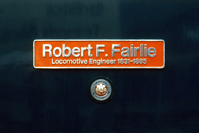 The nameplate of 47645 'Robert F. Fairlie' (27/05/1986)