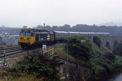 50045 'Achilles' arrives at Redruth with the 1200 Penzance - Plymouth (13/08/1986)