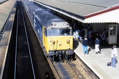 50031 'Hood' arrives at Truro with 1A46 0912 Penzance - Paddington (16/08/1986)