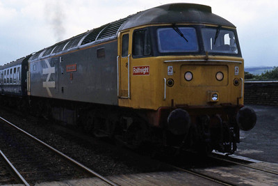 47337 departs from Settle with 1M72 1605 Leeds-Carlisle (06/08/1986)