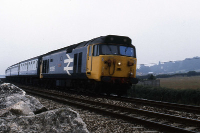 50006 'Neptune' approaches Cockwood Harbour with 1Sxx 0950 Paignton - Glasgow Central (11/08/1986)