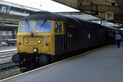 47353 is pictured at Derby with the SO 1E60 0935 Tenby-York (02/08/1986)