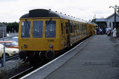 'British Telecom' yellow-liveried 51317 + 59469 + 51302 is pictured on arrival at Liskeard with the 1444 from Looe