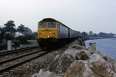 47559 'Sir Joshua Reynolds' at Cockwood Harbour with the 1Z75 1052 Paddington - Penzance relief (11/08/1986)