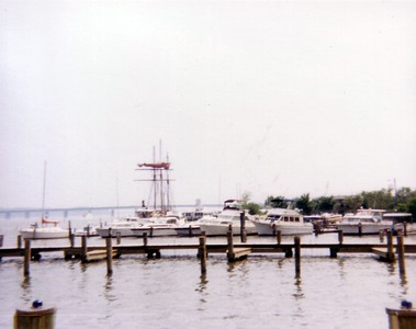 The Alexandria City Marina, with the Woodrow Wilson Bridge in the background