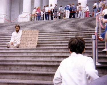 Protester on the steps of the U.S. Capitol