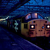 37111 at Glagow Central with an empty stock working to Polmadie 16/02/86
