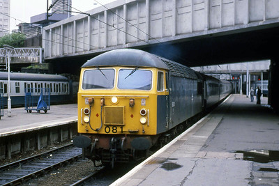 56081 arrived at Birmingham New Street with the empty stock for the Branch Line Society's 1Z37 0727 charter to Meldon Quarry (07/06/1987)