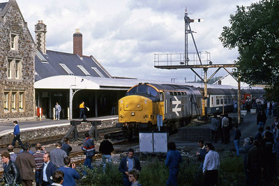 37698 is pictured on arrival at Barnstaple with 1Z37 1519 Meldon Quarry - Birmingham New Street return charter (07/06/1987)