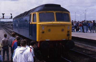 Honourary 'Brush' (it says '47' on the side, so it'll do for me!) 47901 backs onto the BLS 'Meldon Quarryman' railtour at Westbury (07/06/1987)