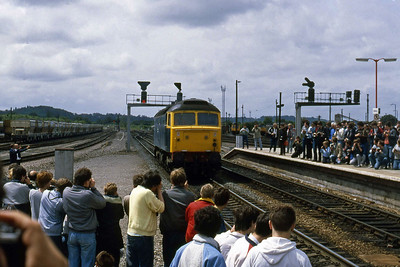 A first glimpse of the tour's star attraction as 47901 makes its way slowly towards the assembled crowds at Westbury (07/06/1987)