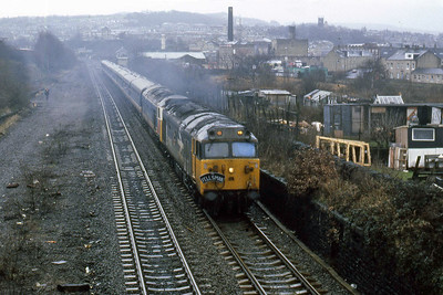 50008 'Thunderer' + 50034 'Furious' accelerate away from Dockfield Junction, Shipley, with Pathfinder's 1Z26 1220 Carlisle - Taunton return 'Fellsman' railtour (30/01/1988)