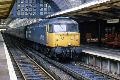 47629 waits to depart from Dover Western Docks with 1M04 1355 to Liverpool Lime Street (13/02/1988)